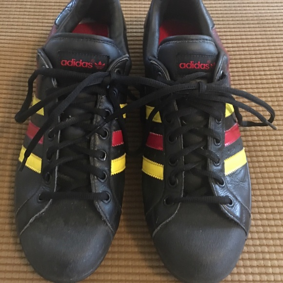 Adidas Superstar Size 11 Yellow, Red Stripes & art